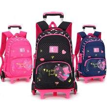 Stilvolle Prinzessin Stil Mädchen Kinder Schultaschen Mit 2/6 Räder Trolley Rucksack Geschenk Mädchen Abnehmbare Trolley Kinder Tasche
