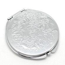 Новое компактное зеркальное карманное зеркало Espelho De Maquiagem 6,6x6,2 см с серебряным цветком, 1 шт