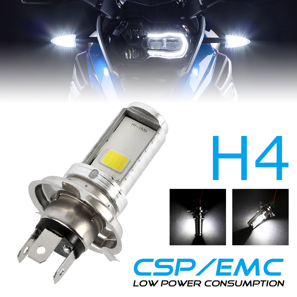 H4 LED Light Motorcycle Headlight Hi/Lo Beam Headlamps Front Light White Bulb For Honda Kawasaki 6000-6500K 1200LM 12W 1PCS