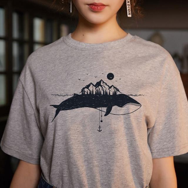 Women's fashion cartoon printed letter short-sleeved casual T-shirt shirt 3