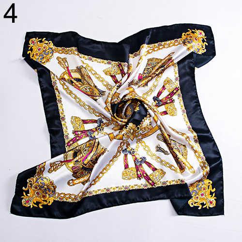 90x90 cm cuadrado mujeres imitado seda satinado carro cadena cuello cabeza bufanda chal