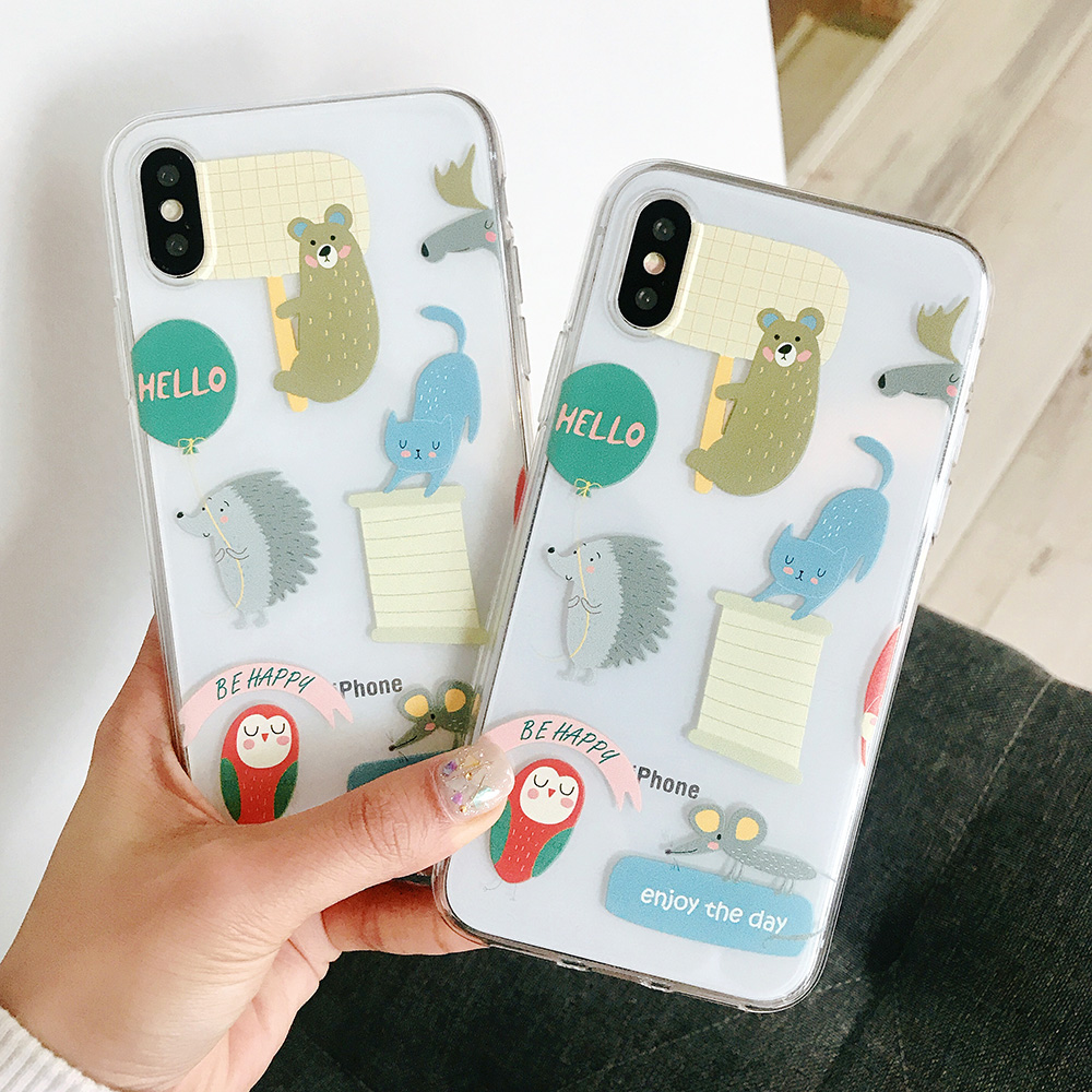 KIPX1072C_2_JONSNOW Transparent Soft Case For iPhone 6S 7 8 Plus Cute Funny Dinosaur Pattern Phone Cover For iPhone XS XR XS Max Capa Coque Fundas