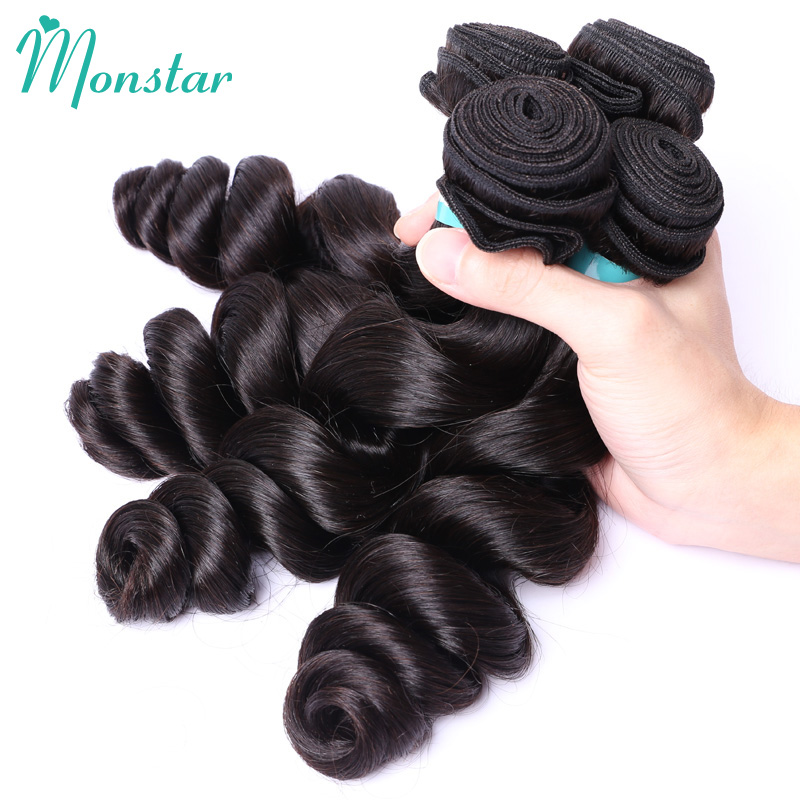 Monstar 1/3/4 Bundles Peruvian Loose Wave Virgin Human Hair Extension Unprocessed Raw Peruvian Loose Wave Bundles Free Shipping
