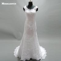2016 Robe De Mariage Shiny Beaded Crystal Wedding Belt Ivory White Lace Mermaid Wedding Dress Long