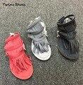 CCTWINS CRIANÇAS menina crianças borla sandálias gladiador sandália para sapatos de bebê sapatas dos miúdos franja sandália tanga preta bebe sandálias vermelhas