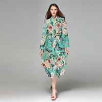 2018 Spring Summer European Style Fashion Couture New Light Blue Printing Long Sleeved Loose Bandage Open