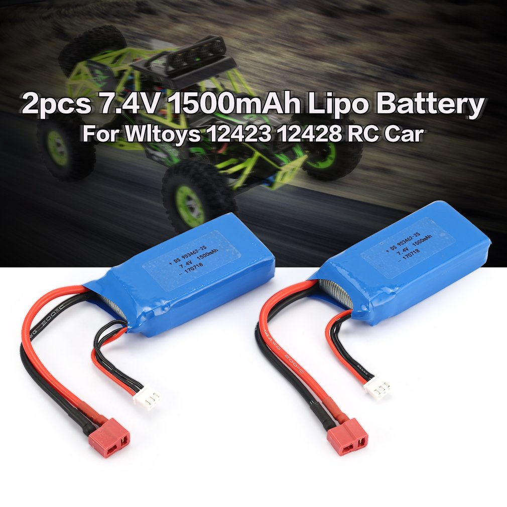 2pcs 7.4V 1500mAh 25C 2S Lipo Battery T Plug Rechargeable For Wltoys 12423 12428 RC Car Airplane Drone Helicopter Model Hobby