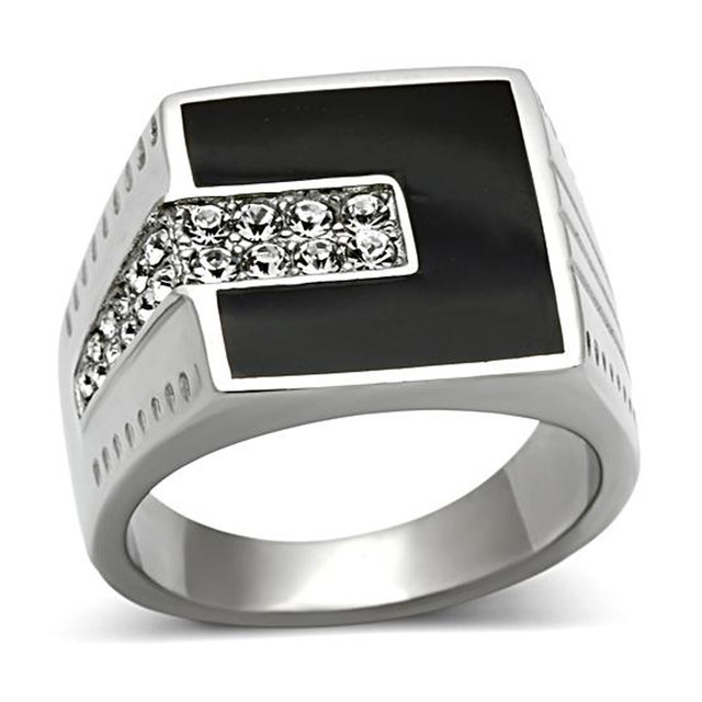 2017 Super Selling Stainless Steel ring with Top Grade Crystal handmade Black epoxy Rings Men Fashion Rings ring for man