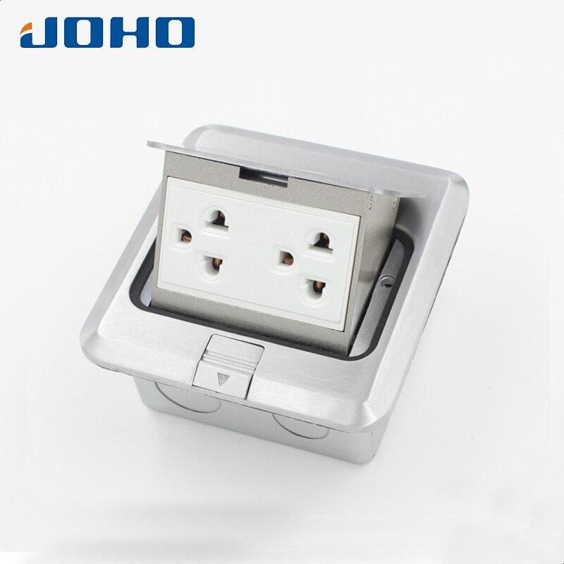 Aluminum alloy Slow Pop Up Floor Socket Box with Double Thailand Universal sockets 16A 250V