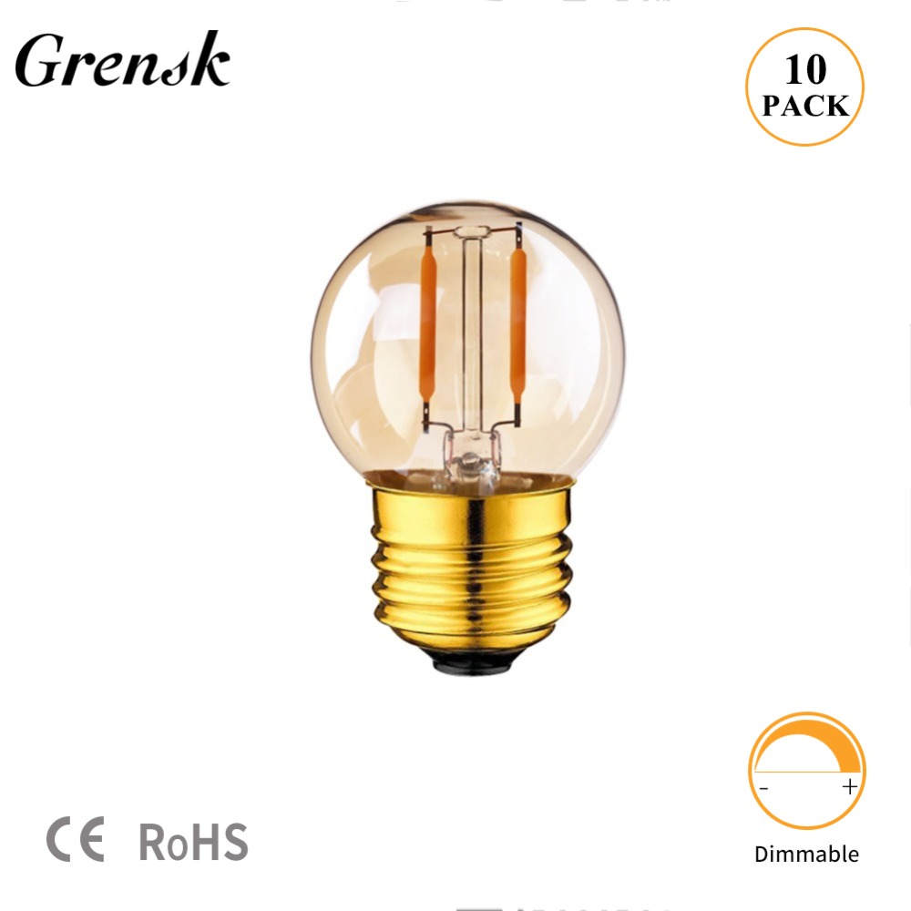 Gold Tint G40 Mini Globe Lamp 1W 2200K Edison Vintage <font><b>LED</b></font> Filament Light <font><b>Bulb</b></font> E27 E12 220V E26 110VAC String <font><b>LED</b></font> Lights Dimmable image