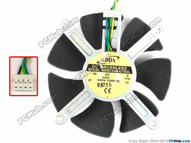 Free Shipping for ADDA AD0912UB-U7BGL, G DC 12V 0.45A 4-Wire 4-Pin 89x89x22mm Server Round fan
