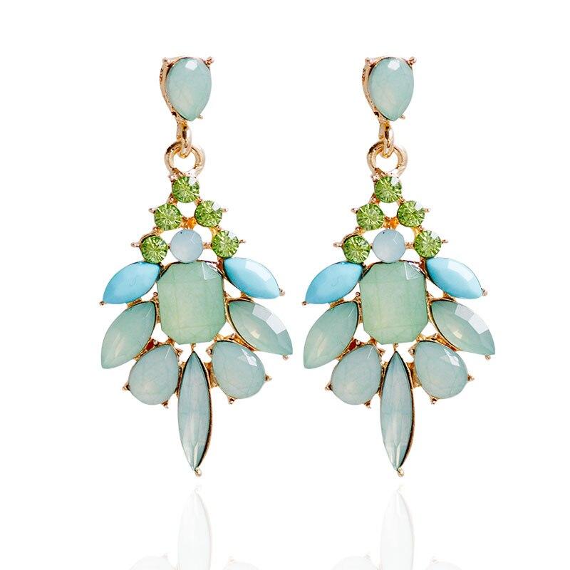 F & U Farklı Renkler ile Reçine Kristal Dangle Küpe Altın Renk - Kostüm mücevherat - Fotoğraf 3