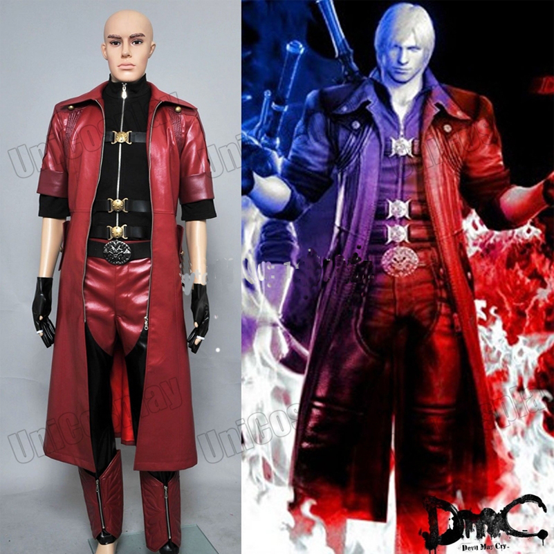 Devil May Cry 4 Dante Cosplay Costume DMC4 Halloween Suits Red Trench Coat Shirt Pants Uniform For Men's Sets