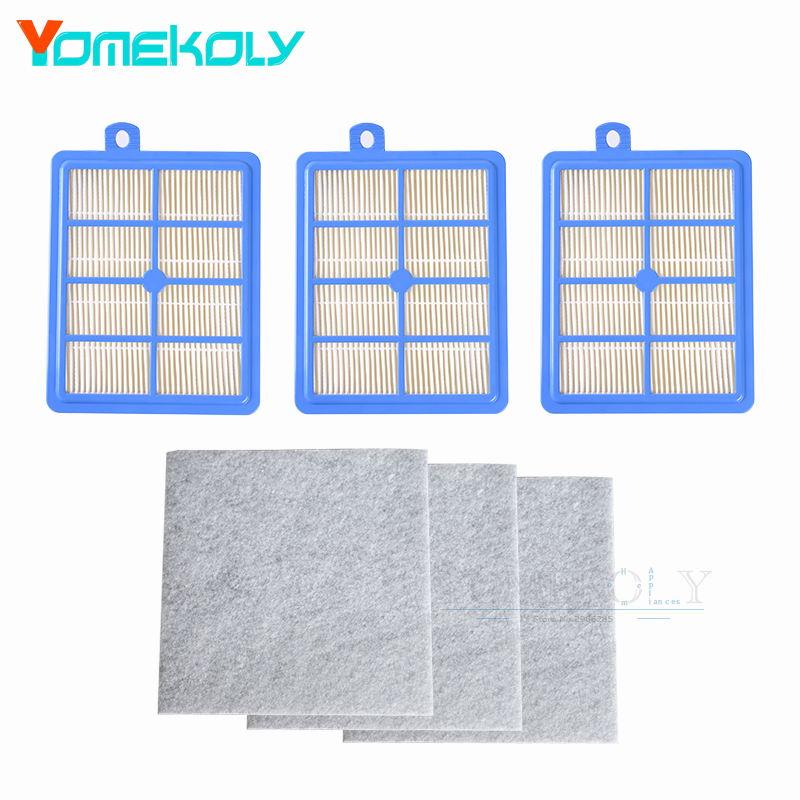 3PCS Hepa Filter H12 H13+3 PCS Motor Cotton Filter for Philips Electrolux Vacuum Cleaner Replacement Spare Parts