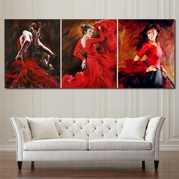 Hand painted Oil paintings Canvas Flamenco Dancer Spanish woman Bright Red Dress figure art for wall decor Set of 3 High quality