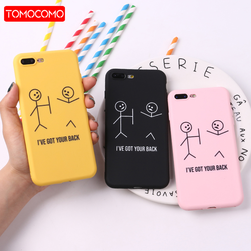 TOMOCOMO For iPhone 8 8Plus X 7 7Plus Stick Figure Memes Cool Quote Funny Words Soft TPU Silicone Matte Case For iPhone 6 6S 5 image