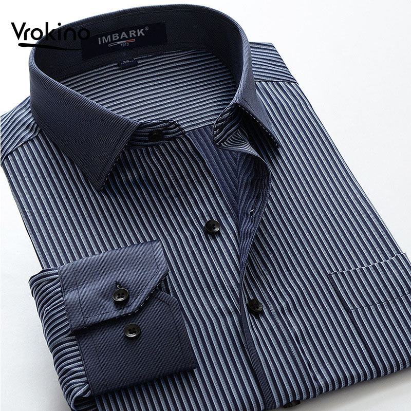 6XL 7XL 8XL 9XL 10XL 2019 Large Size Striped Shirt Men's Business Casual Loose Cotton Straight Long Sleeve Shirt Brand Clothing