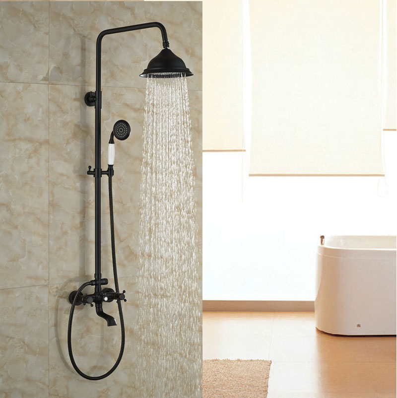 Ceramic Hand Shower With Double Levers Shower Set Wall Mounted Oil Rubbed Bronze Shower Jet