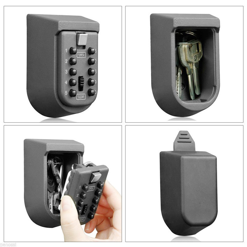 2020 Key Storage Box Digit Wall Mount Combination Lock Four Password Keys Safe Box Zinc Alloy  Material Security Organizer Boxes
