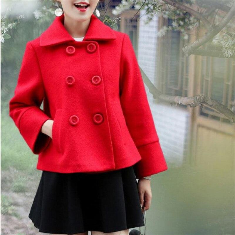 Rouge 2XL Femmes épais manteaux de laine petit vestes en laine de Pardessus Coupe-Vent de mode version Coréenne nouvelle automne et manteau d'hiver
