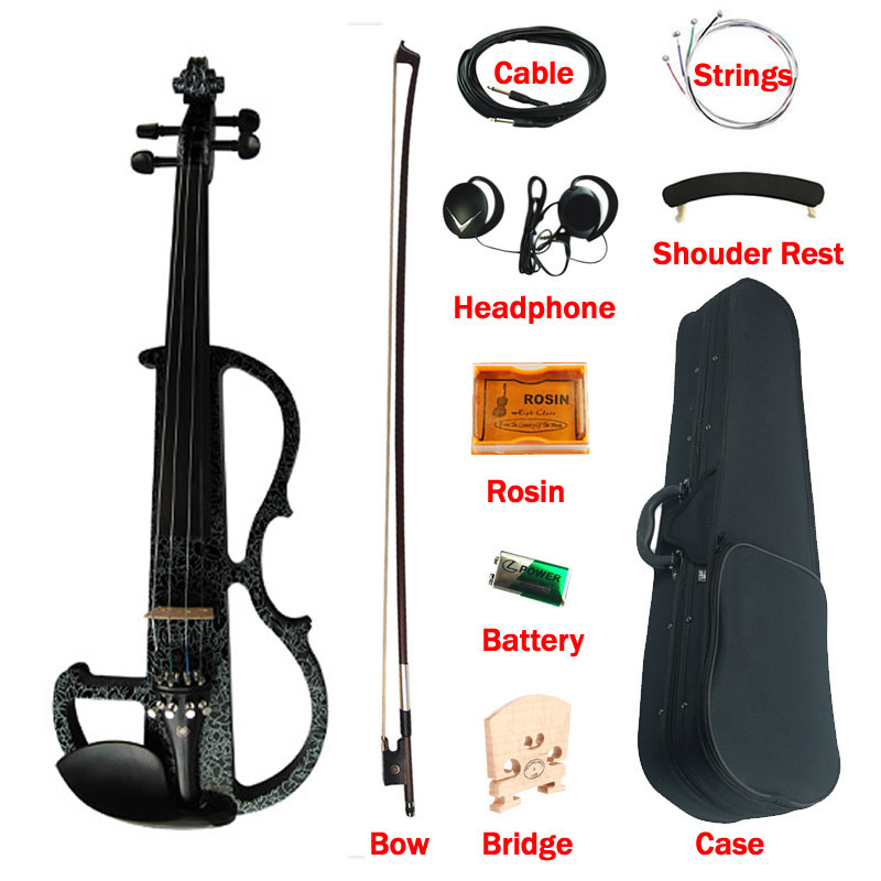 Advanced Electric Art Violin Black Colored Solid Wood Ebony Fittings Violino 4/4 Music Instruments w/ with Case Bow