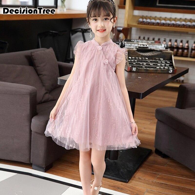 2019 New Girls Chinese Traditional Dress Baby Sleeveless Cheongsam Kids Flower Qipao Children Clothing Evening Dress