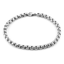 men Stainless Steel bracelet 3/4/5mm Square Rolo chain Bracelet bangle women for men gift Good quality whosale(China)