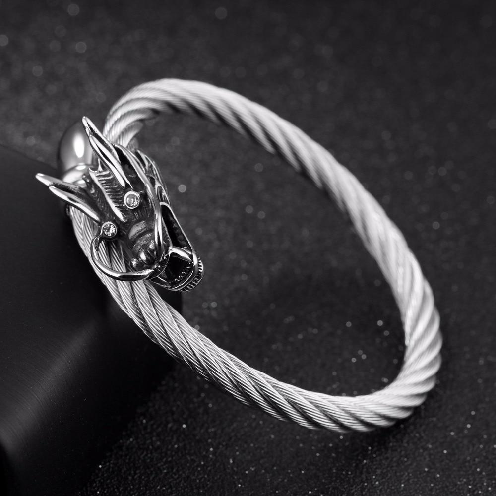 Punk Evil Dragon Rope Bracelet For Men Stainless Steel White ...