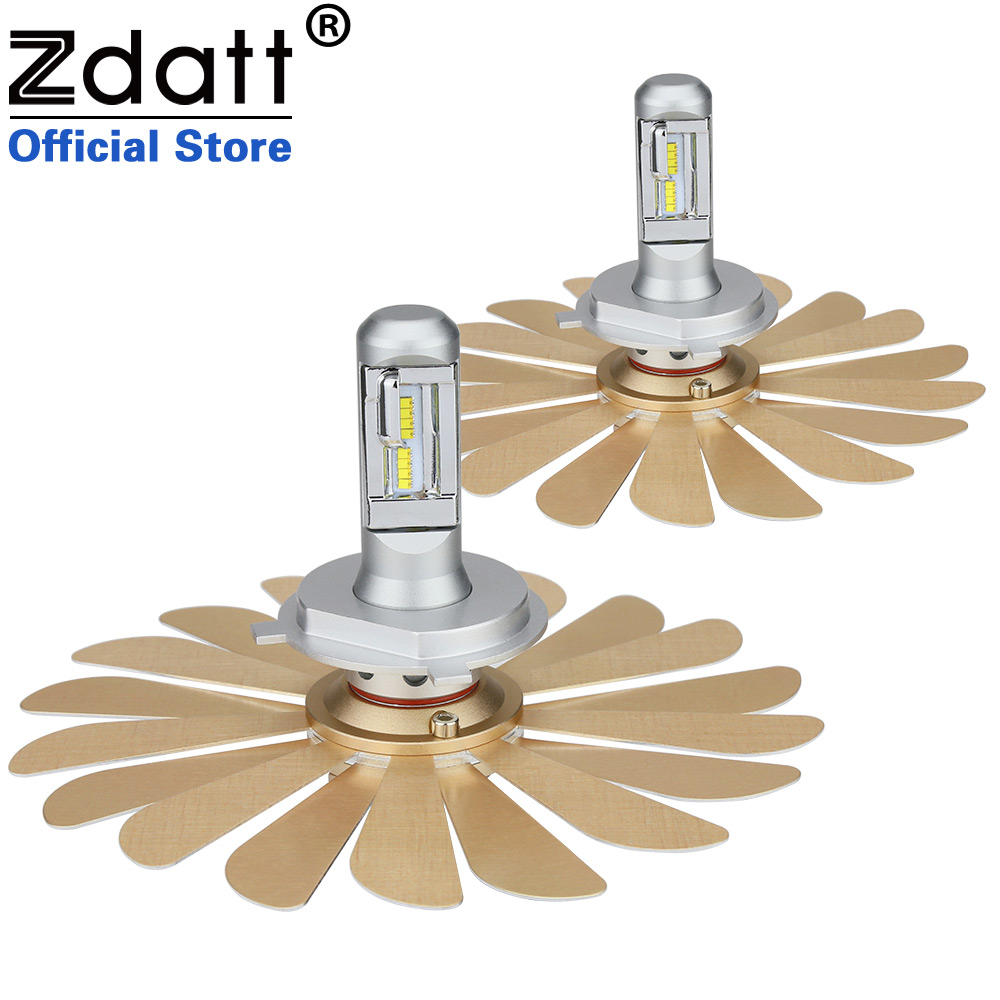 Zdatt Fanless Car Led Light ZES 100W 12000LM Headlights H4 Led Bulb H1 H7 H8 H11 9005 HB3 9006 HB4 12V Auto Lamp Automobiles zdatt 2pcs 12000lm car led headlights h4 h7 h8 h11 9005 hb3 canbus auto led bulb hi lo beam 100w pair 12v fog lamp automobiles