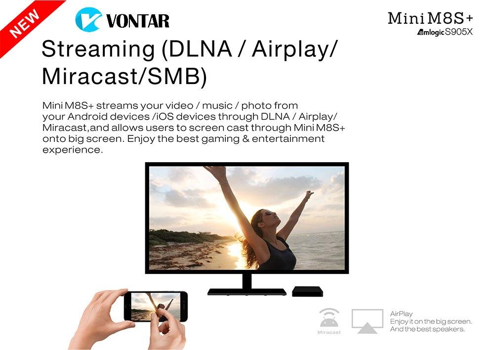 5pcs [Genuine] VONTAR Mini M8S+ 2G/8G Amlogic S905X Android 6 0 Quad TV Box  2 4G WiFi BT4 0 H 265 4K MiniM8S Plus-in Set-top Boxes from Consumer