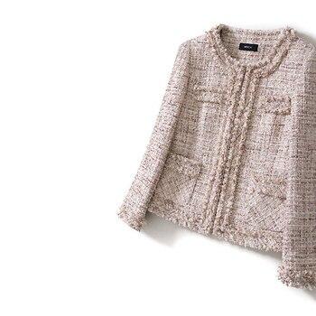 France Elegant Fringe Tassel O-neck Short Tweed Coats 2019 Spring Autumn Women Sequins Pockets Woolen Coat Jackets Y023