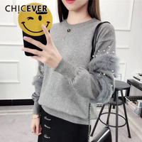 CHICEVER 2018 Spring Knitted Pullovers Women Sweater Top Long Sleeve Patchwok Plush Pearl Sweaters Jumper Clothes