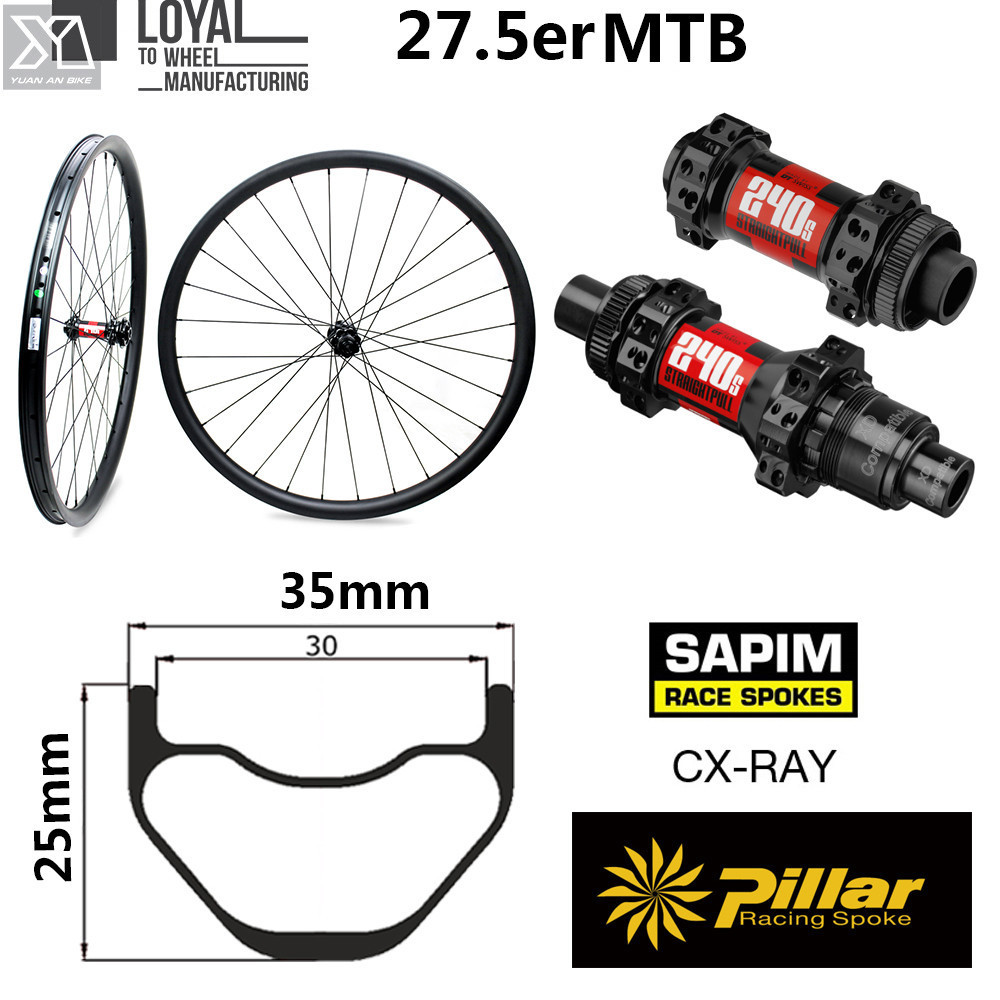 DT Swiss 240 Hub Sapim Spokes 650B Carbon MTB Bike Wheelset 35mm Width 25mm Depth 27.5er Mountain Bike Wheel Tubeless Ready