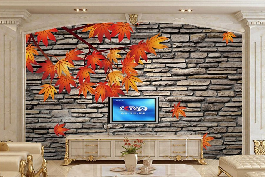 Textured stone wall leaves wallpaper,living room tv sofa