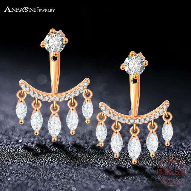 ANFASNI Trendy 925 Sterling Silver Rose Gold Color Tassel Water Earrings With AAA Clear Zirconia Brincos Wedding Earring