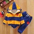 Conjunto Esportes Camisola do Revestimento do Revestimento & Calças do bebê Engrossar Crianças roupas Set 2016 Venda Quente Crianças Meninos Meninas Inverno Algodão terno