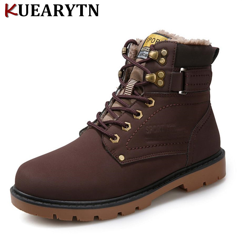 Men/'s Casual Leather High Top Sneaker Lace-up Work Shoes Ankle Boots Winter Warm