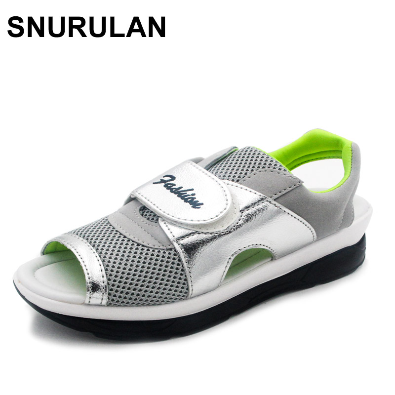 SNURULAN Fashion Summer Women's Sandals Casual Mesh Breathable Shoes Woman Comfortable Wedges Lace Platform Sandalias pinsen 2017 summer women flat platform sandals shoes woman casual air mesh comfortable breathable shoes lace up zapatillas mujer