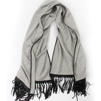 Pure Cashmere Scarf Women Black Camel Gray Two Side Fringe Cashmere Scarf Luxury Brand High Quality