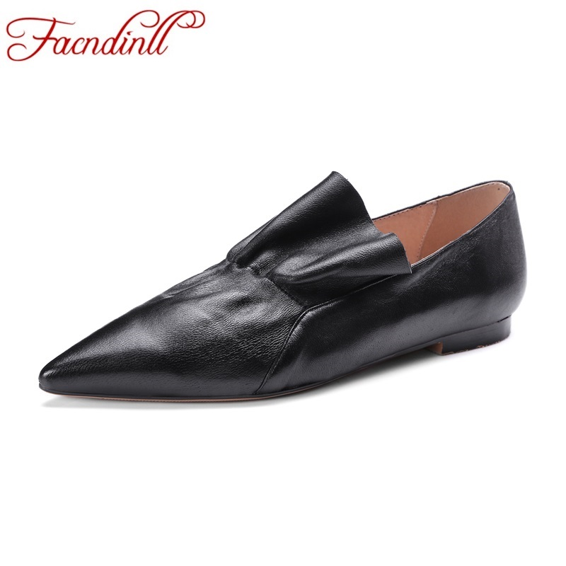 FACNDINLL spring summer women flats shoes genuine leather flat heel pointed toe black red shoes woman slip on casual flat shoes spring women red shoes flat pointed toe genuine leather high 2017 new woman shoes high quality casual flats big size 41 42 43