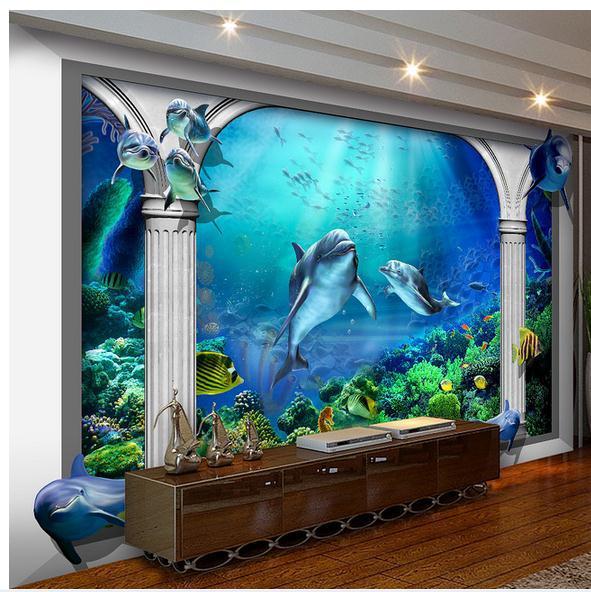 Us 1189 42 Offcustom Photo Wallpaper 3d Wall Murals Wallpaper Sea World Marine Aquarium Roman Column 3d Tv Setting Wall Wallpaper Living Room In