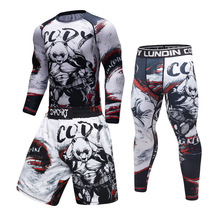 Brand New UFC BJJ MMA Work Out Compression Rashguard T shirt Men VS PK Exercise 3D Fitness Tights Bodybuild Cross fit Rash Guard(China)
