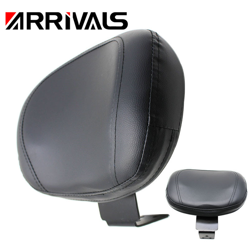 Motorcycle Black Rear Backrest Seat Sissy Leather Driver Backrest Pad For Yamaha XVS 400 650 1998-2019