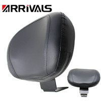 Motorcycle Black Rear Backrest Seat Sissy Leather Driver Backrest Pad For Yamaha XVS 400 650 1998 2019