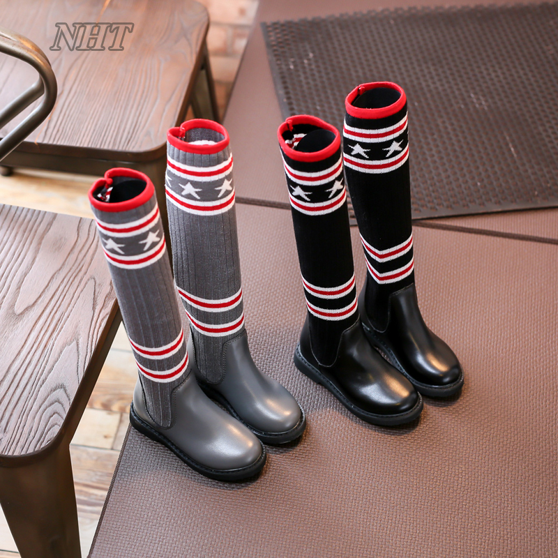 new arrival 2018 mid calf kids boots girls long dress style booties stripe pattern super quality