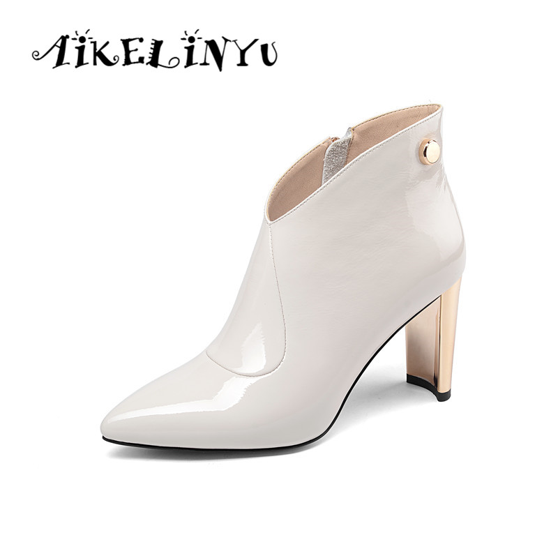 AIKELINYU Womens Winter Fashion 2019 Patent Leather Ankle Boots Pointed End Women Zip  Sexy White High Heel