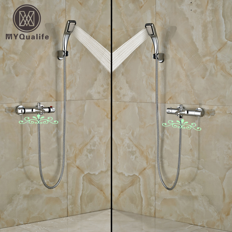 Modern Bathroom Shower Faucet Set Chrome Mixer Taps with Handshower Thermostatic Mixer Valve polished chrome wall mount temperature control shower faucet set brass thermostatic mixer valve with handshower