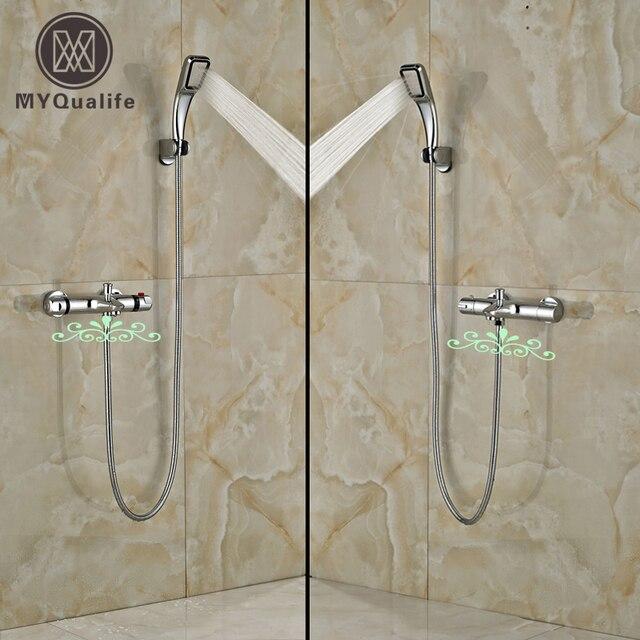 Moderne Badezimmer Dusche Wasserhahn Set Chrome Mischbatterien Mit  Handbrause Thermostat Ventil