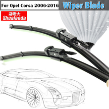 Car Soft Rubber Bracketless Wiper Blade For Opel Corsa 2006-2016 Vehicle Window Windshield 2Pcs