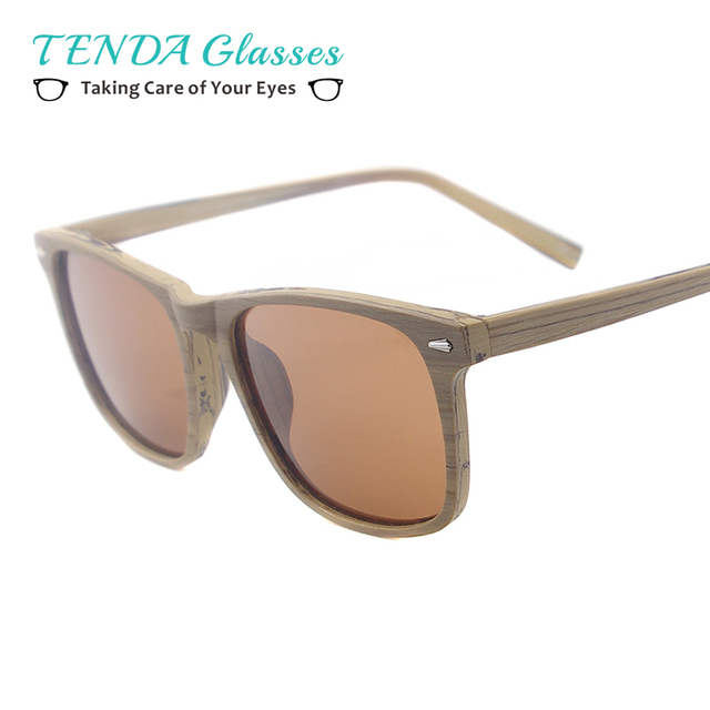 40e24e2cfb Men Square Sun Glasses Acetate Wooden Texture Bamboo Polarized Sunglasses  For Prescription Lenses